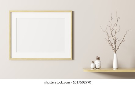 Wooden frame on the wall and shelf interior background 3d rendering