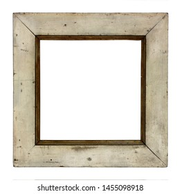 Wooden frame painted in white, isolated on white background