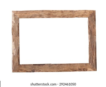 Wooden Frame Rustic Wood Isolated On The White Background