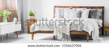 Wooden framed comfortable bed