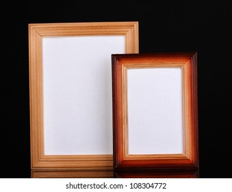 Wooden frames isolated on black