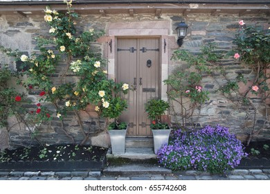 Wooden Front Door of a Beautiful Old Cottage
