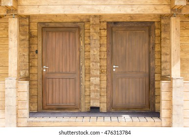 Wooden front door of a home.