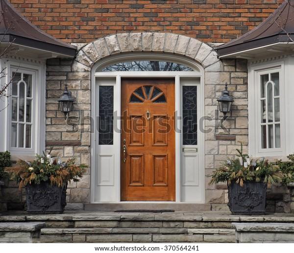 Wooden Front Door Stone Steps Stock Photo Edit Now 370564241