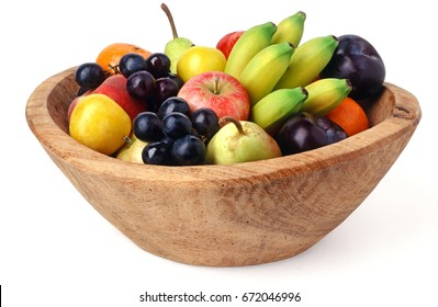 Wooden fruit bowl isolated over white background