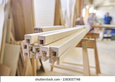 Wooden furniture detail, background carpentry woodworking woodshop.