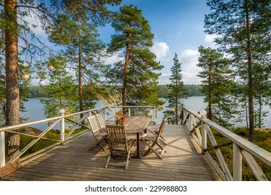 Wooden furniture table and chairs in the nature environment