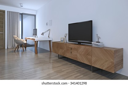 Wooden furniture in white room. 3D render