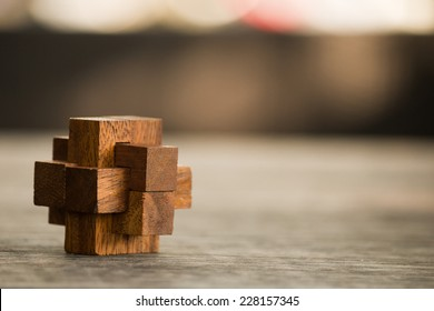wooden game  block abstract with bokeh