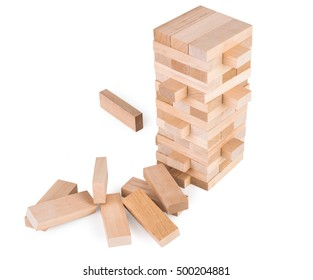 Wooden game Jenga. On white, isolated background.