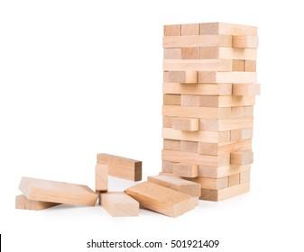Wooden game Jenga. On white, isolated background.