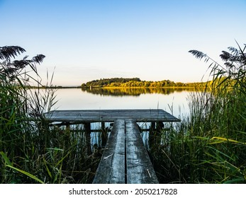 wooden gangplank at a small lake in the morning sun