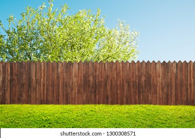 hölzerner Gartenzaun im Hinterhof und Blütenbaum im Frühling