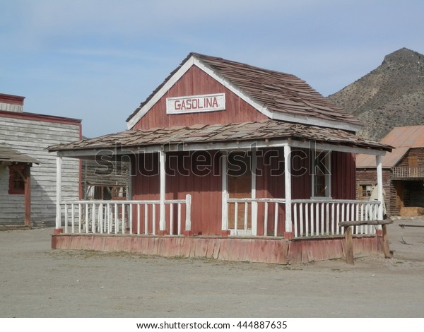 Wooden Gas Station Building in Fort Bravo Film Set, Tabernas Desert, Almeria, Spain