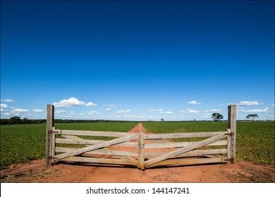 Wooden gate at farm closing the way