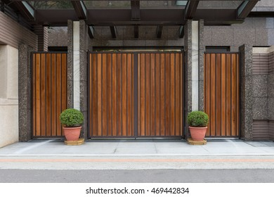 Wooden gate and fence house.