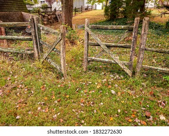Wooden gate with freshly fallen leaves