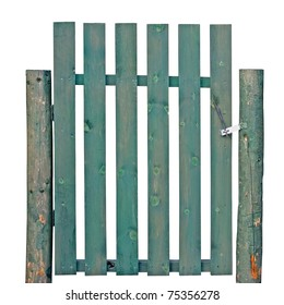 Wooden Gate, Green Weathered Aged, Isolated Garden Fence Entrance old rustic retro vintage picket entry