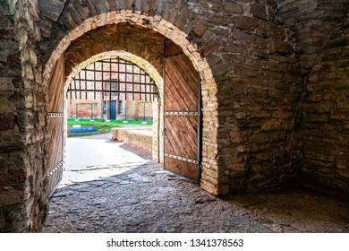 Wooden gate in medieval Oreshek fortress is an ancient Russian fortress. Shlisselburg Fortress near the St. Petersburg, Russia