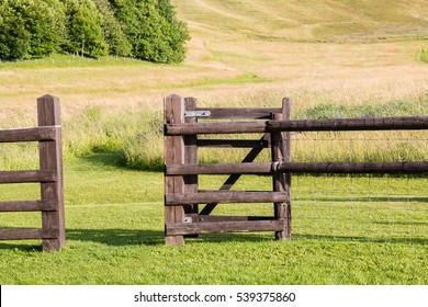 A wooden gate opening onto a summer English field. The farm gate opens onto a mown field with trees in the background