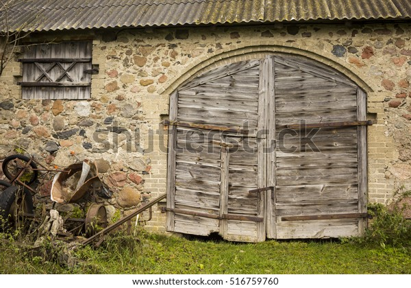 Wooden Gate Window Old Barn Nailed Stock Photo Edit Now 516759760