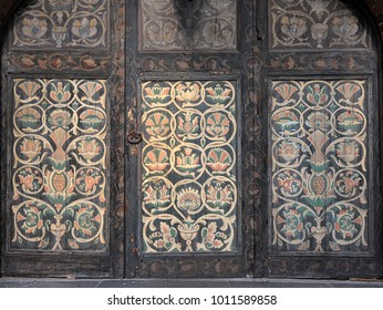 Wooden gates painted with frescoes of the Church of St. John the Baptist in Yaroslavl