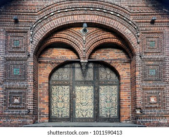 Wooden gates painted with frescoes, traditional ceramic tiles of the Church of St. John the Baptist in Yaroslavl