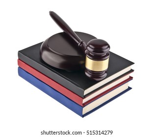 wooden gavel and books isolated on white background closeup