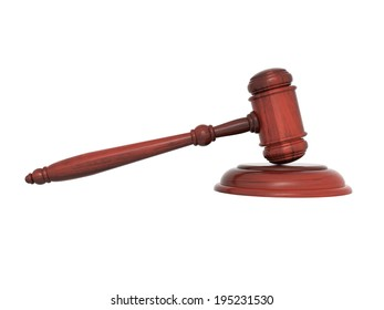 Wooden gavel close-up, isolated on a white background