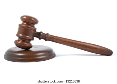 Wooden gavel from the court with soft shadow on white background