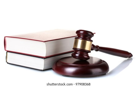 wooden gavel, glasses and books isolated on white