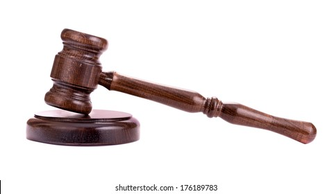 Wooden gavel isolated side view