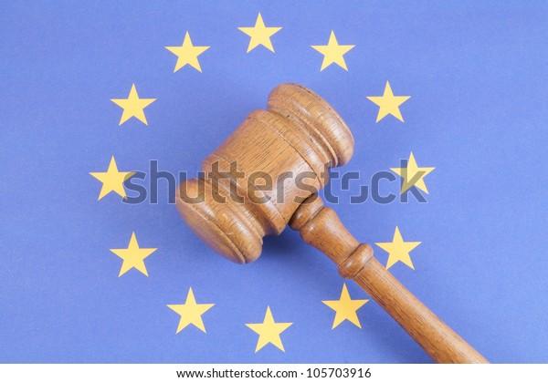 Wooden gavel on european union flag