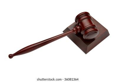 wooden gavel shot on white background