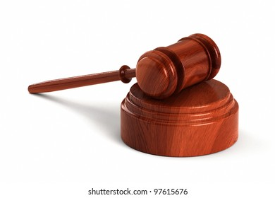 Wooden gavel with sound block over white background