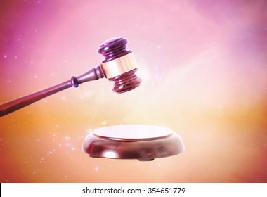 Wooden gavel in space
