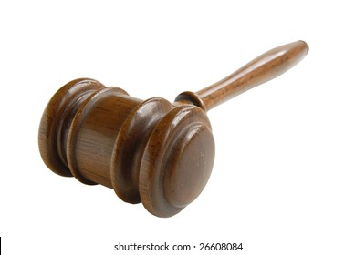 A wooden gavel in a studio shot, isolated on white.