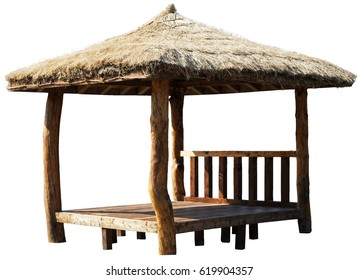 Wooden gazebo isolated on white background