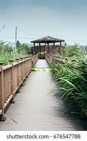Wooden gazebo and windy wetland park in summer day in Korea