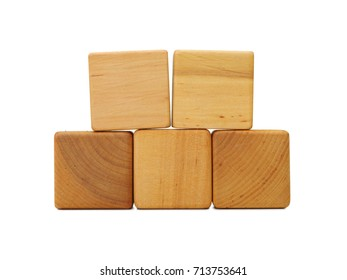 Wooden geometric shapes cube isolated on a white background. Business model.