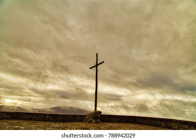 Wooden giant Catholic cross on Panoramic terrace