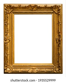 Wooden gilded vintage picture frame on white background isolated