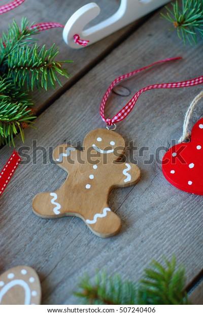 Handmade Christmas Decorations Wood Ginger Bread Man