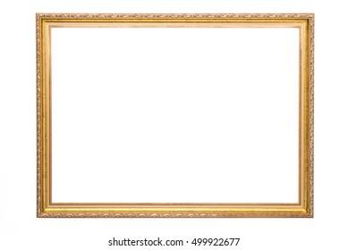 wooden gold frame on white background