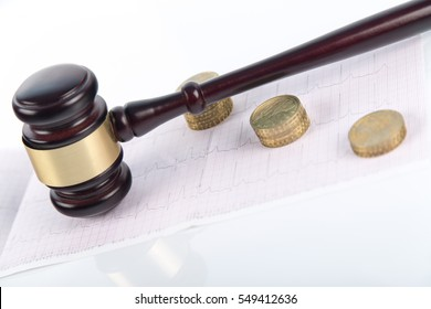 Wooden and gold gavel on white background isolated with EKG, ECG. symbol, corruption and bribe in government, actions for compensation, sue, lawsuit for damages, divorce, Medical malpractice, error.