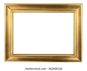 Wooden golden frame isolated on white background