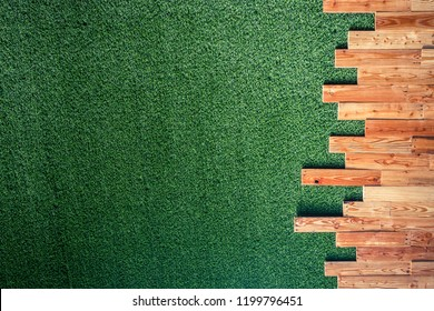 Wooden with green grass plastic background