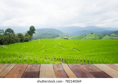 wooden and green terraced rice field with mist on morning in Pa Bong Piang, Chiang Mai, Thailand. Subject is blurred.