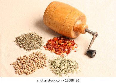 Wooden grinder with various kinds of spices