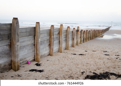 A Wooden Groyne Leading out into the North Sea at Blyth Beach, Northumberland
